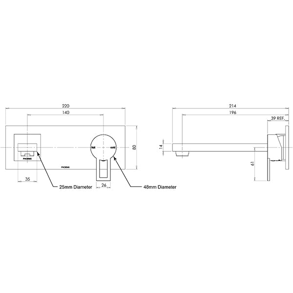 Phoenix Lexi Q Wall Basin Mixer Set 190mm Technical Drawing - The Blue Space