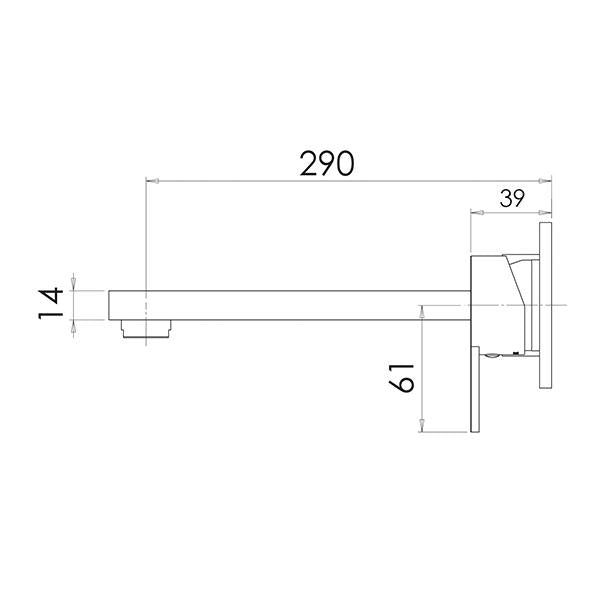 Phoenix Lexi Q Wall Basin Mixer Set 290mm Technical Drawing - The Blue Space