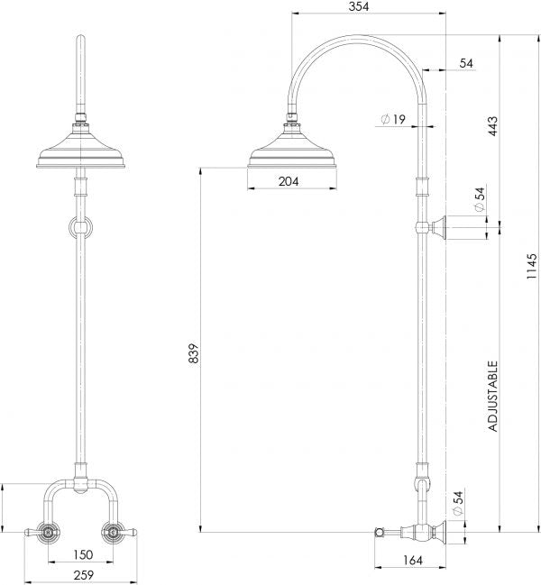 Phoenix Nostalgia Lever Exposed Shower Set Technical Drawing - The Blue Space