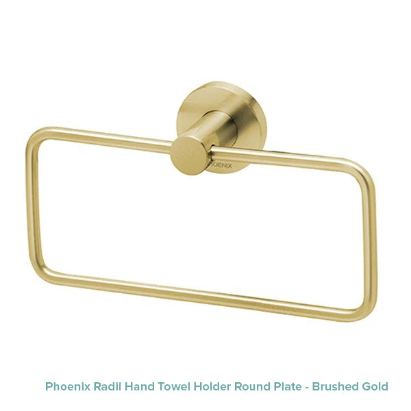 Phoenix Radii Hand Towel Holder Round Plate - Brushed Gold at The Blue Space