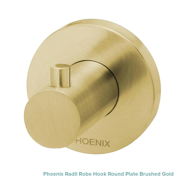 Phoenix Radii Robe Hook Round Plate Brushed Gold at The Blue Space