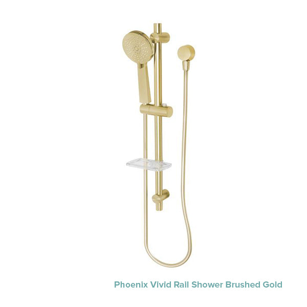 Phoenix Vivid Rail Shower Brushed Gold at The Blue Space