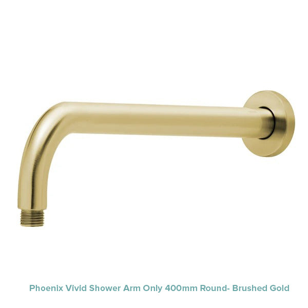 Phoenix Vivid Shower Arm Only 400mm Round- Brushed Gold at The Blue Space