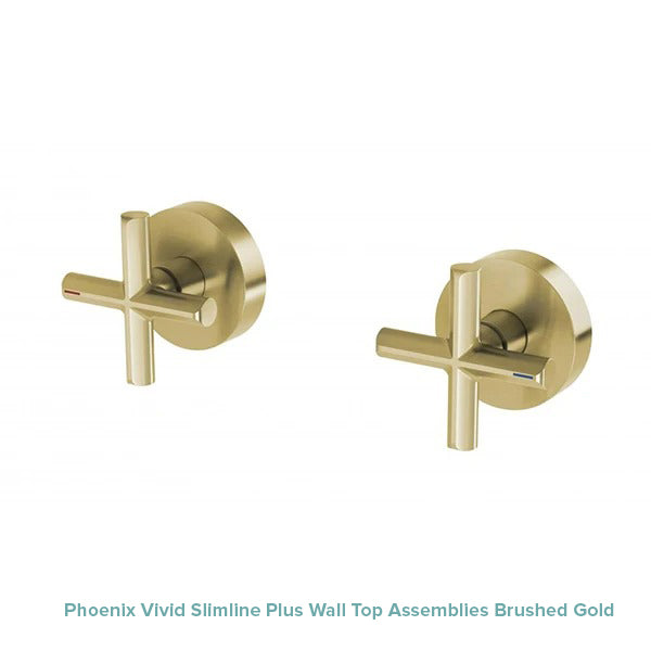 Phoenix Vivid Slimline Plus Wall Top Assemblies Brushed Gold at The Blue Space