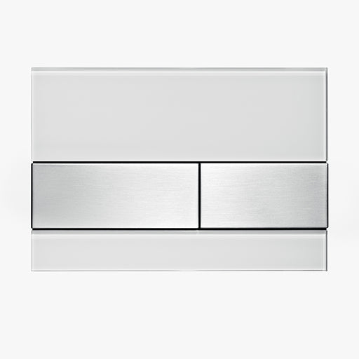 TECESquare Glass White Plate and Stainless Steel Buttons - The Blue Space