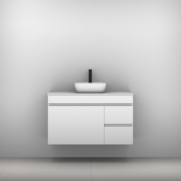 Timberline Bargo Wall Hung Vanity with Silksurface Top & Basin 1050mm Single Bowl - The Blue Space