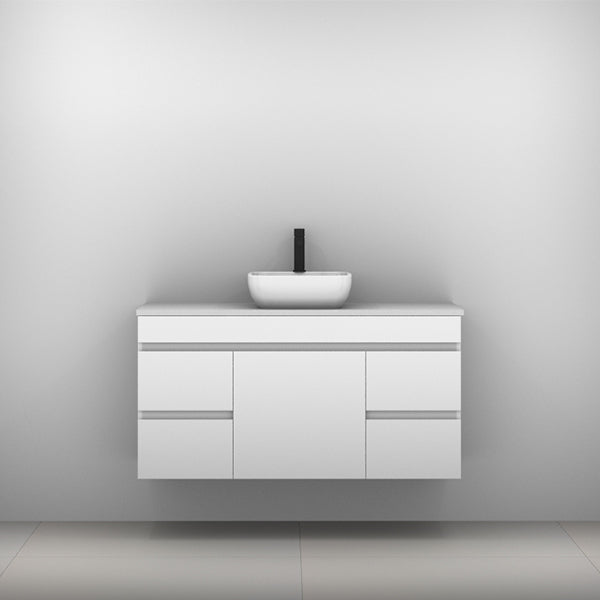 Timberline Bargo Wall Hung Vanity with Silksurface Top & Basin 1200mm Single Bowl - The Blue Space