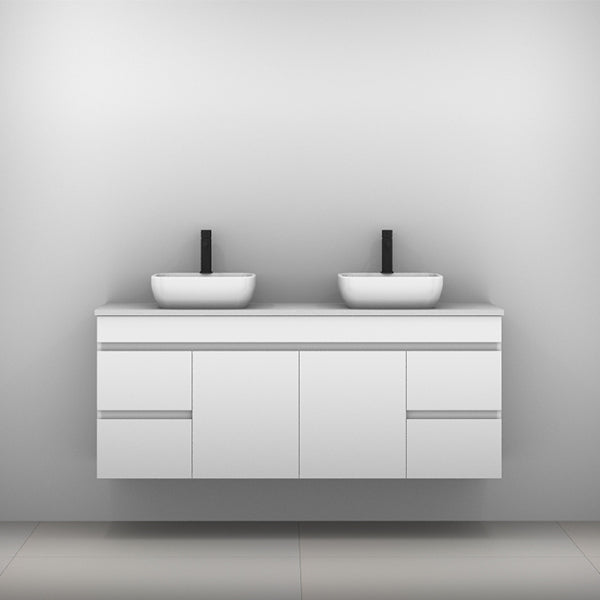 Timberline Bargo Wall Hung Vanity with Silksurface Top & Basin 1500mm Double Bowl - The Blue Space