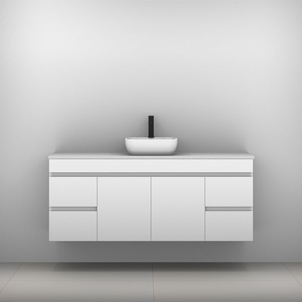 Timberline Bargo Wall Hung Vanity with Silksurface Top & Basin 1500mm Single Bowl - The Blue Space