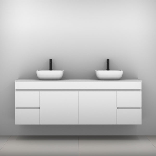 Timberline Bargo Wall Hung Vanity with Silksurface Top & Basin 1800mm Double Bowl - The Blue Space