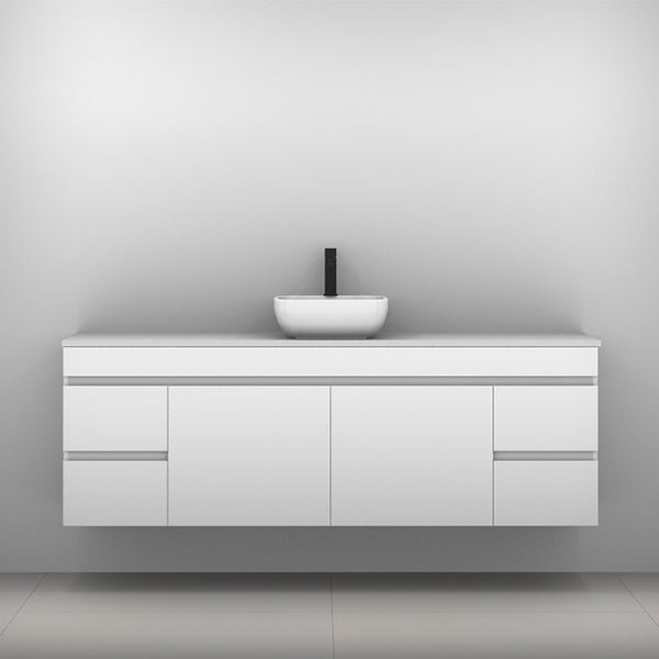 Timberline Bargo Wall Hung Vanity with Silksurface Top & Basin 1800mm Single Bowl - The Blue Space