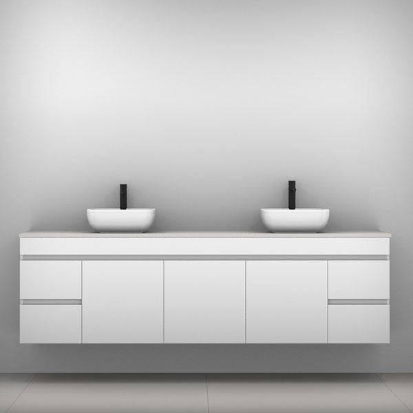 Timberline Bargo Wall Hung Vanity with Silksurface Top & Basin 2100mm Double Bowl - The Blue Space