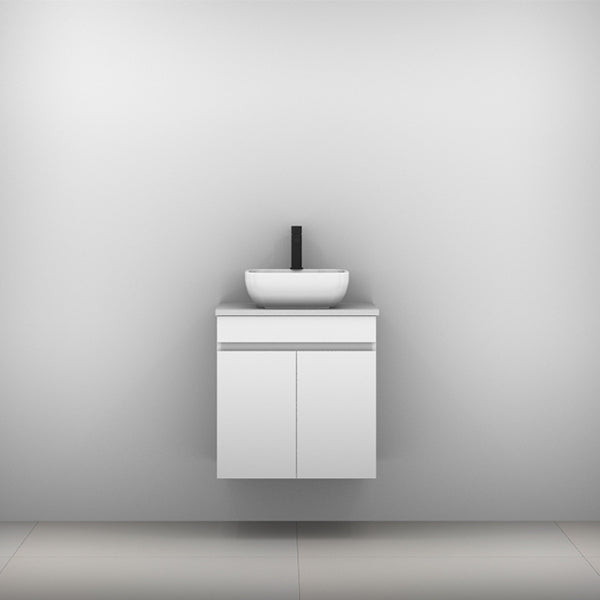 Timberline Bargo Wall Hung Vanity with Silksurface Top & Basin 600mm Single Bowl - The Blue Space