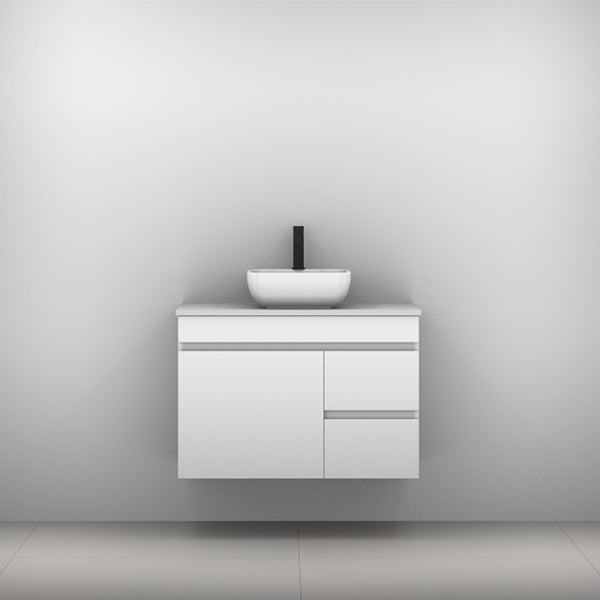Timberline Bargo Wall Hung Vanity with Silksurface Top & Basin 900mm Single Bowl - The Blue Space