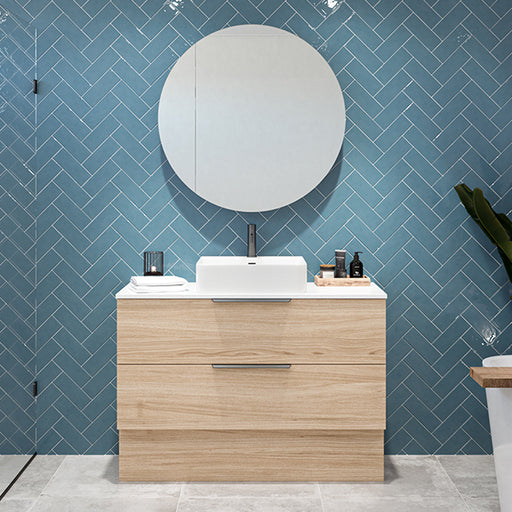 Timberline Oxbow Vanity w/ Kick, Stone Top & Above Counter Basin - The Blue Space
