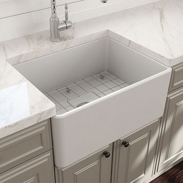 Turner Hastings Novi 61 x 46 Universal Flat or Ribbed Fireclay Butler Sink Matte White - The Blue Space