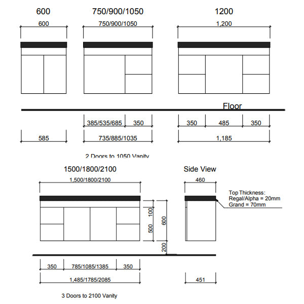 Technical Drawing - Timberline Bargo Wall Hung Vanity 750mm - 2100mm with Silksurface Top & Basin
