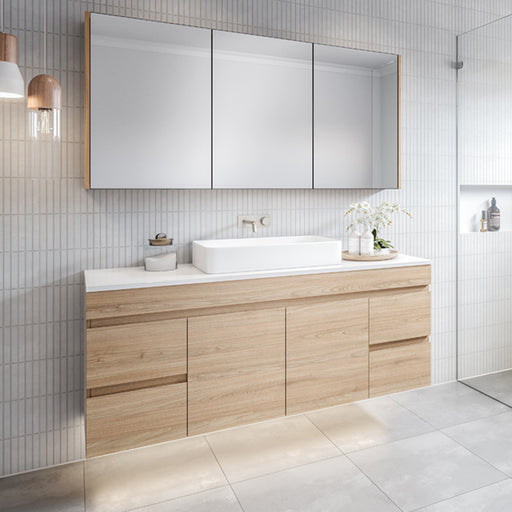Timberline Bargo Wall Hung Vanity 750mm - 2100mm with Silksurface Top & Basin - The Blue Space