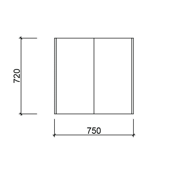 Technical Drawing - Timberline Denver Shaving Cabinet 750mm