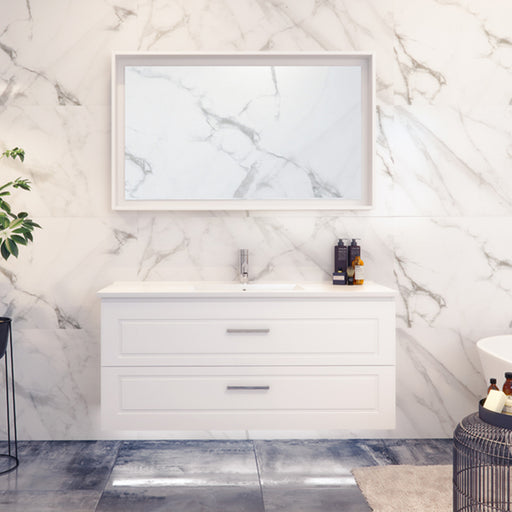 Timberline Nevada Plus Classic Wall Hung Vanity 750mm - 1800mm with Ceramic Top - Shaker Vanity at The Blue Space