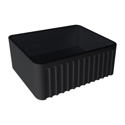 Turner Hastings Novi 60 x 46 Fine Fireclay Butler Sink - Matte Black ribbed front