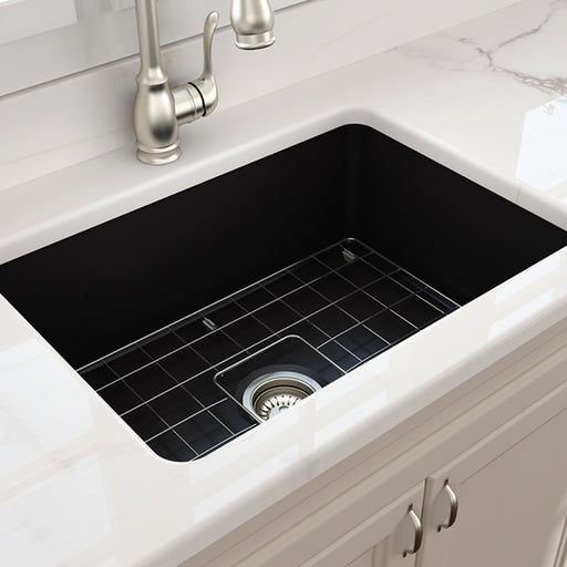 Turner Hastings Cuisine 68 x 48 Inset/Undermount Fine Fireclay Sink - Matte Black at The Blue Space