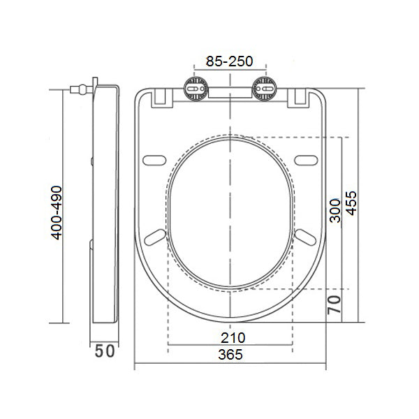 Technical Drawing - Turner Hastings Belmont Quick Release Soft Closing Seat