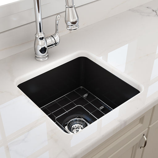 Turner Hastings Cuisine 46 x 46 Inset/Undermount Fine Fireclay Sink - Matte Black at The Blue Space