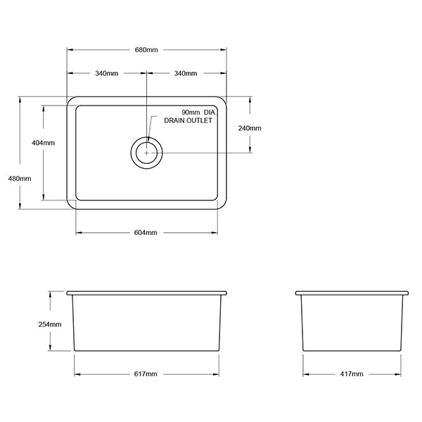 Turner Hastings Cuisine 48 x 68 Inset/Undermount Fine Fireclay Sink Technical Drawing