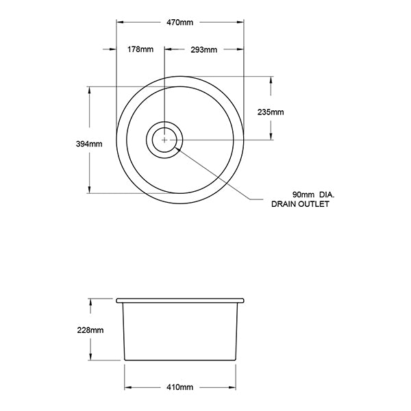 Turner Hastings Cuisine Round 47 Inset/Undermount Fine Fireclay Sink Technical Drawing