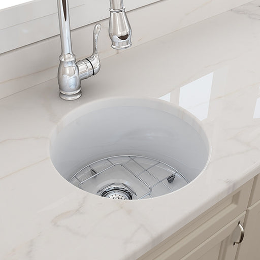 Turner Hastings Cuisine Round 47 Undermount Fine Fireclay White Ceramic Sink - The Blue Space