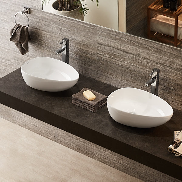 Turner Hastings 47 x 34 Fino Thin Rimmed Fine Fireclay Bathroom Double Basins - The Blue Space