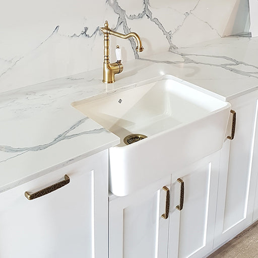 Turner Hastings Galdor Fine Fireclay Butler Kitchen Sink in Hampton Style Kitchen- The Blue Space