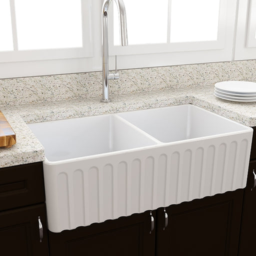 Turner Hastings Novi Fireclay Double Butler Sink, Universal Flat And Ribbed Front
