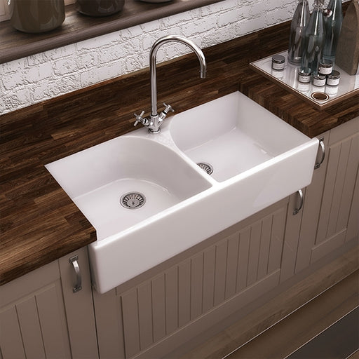 Turner Hastings Oxford Double Flat Front Fine Fireclay Butler Sink