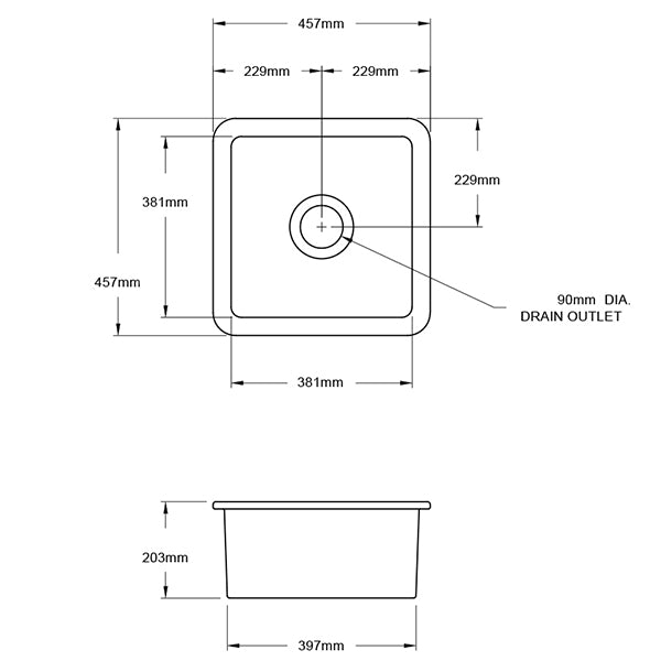 Technical Drawing - Turner Hastings Cuisine 46 x 46 Inset/Undermount Fine Fireclay Sink - Matte Black