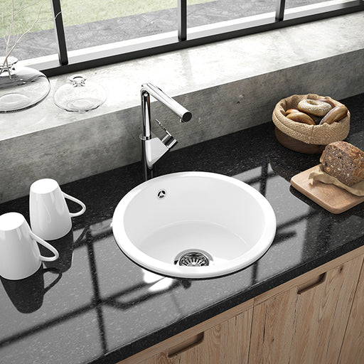 Turner Hastings Valet Round 380mm Inset Fine Fireclay Kitchen Sink on black benchtop