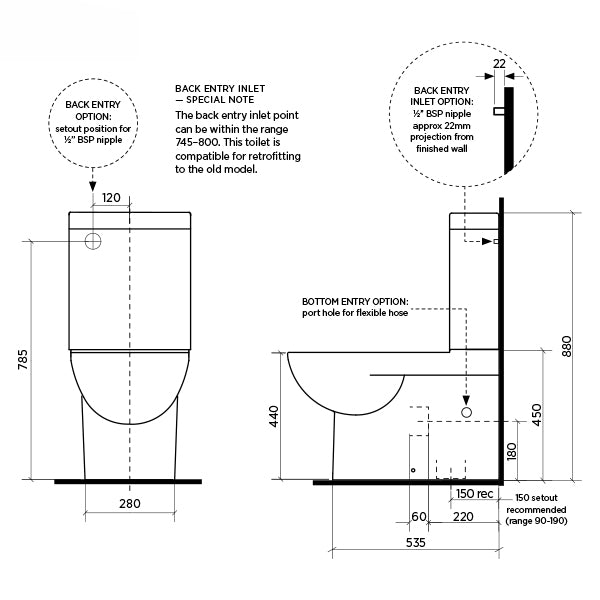 Seima Limni II Wall Faced Toilet Suite - Standard Seat Dimensions