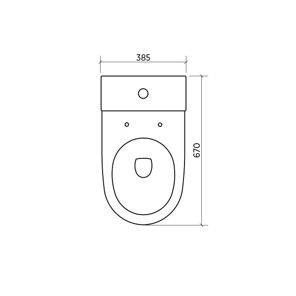 Seima Limni II Wall Faced Toilet Suite - Standard Seat Birds Eye View Dimensions