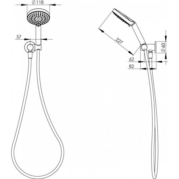 Technical Drawing - Phoenix Vivid Hand Shower - Chrome