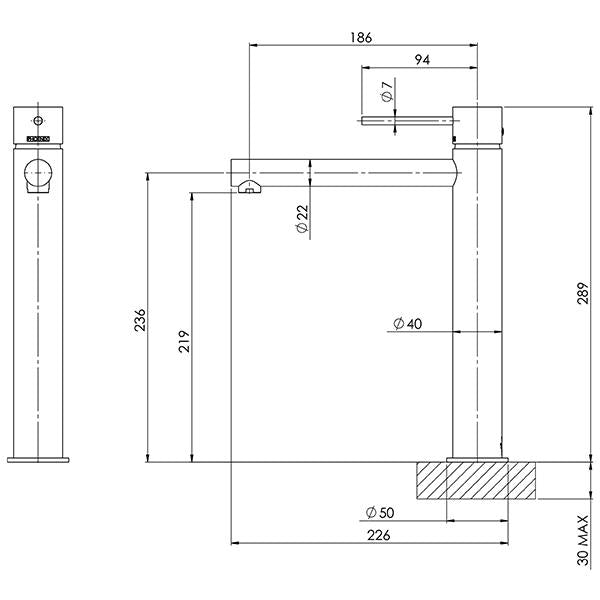 Phoenix Vivid Slimline Vessel Mixer-Brushed Gold specs- line drawing and dimensions