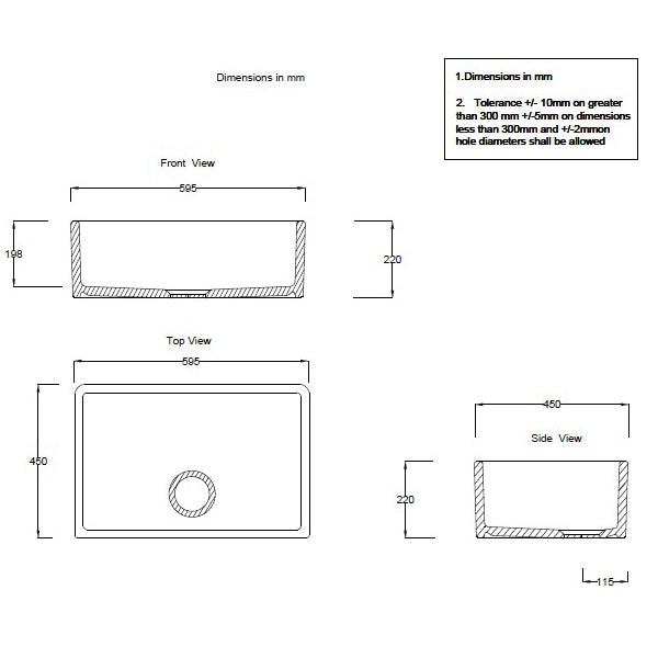 Technical Drawing - Turner Hastings Westminster 60 x 45 Fine Fireclay Butler Sink