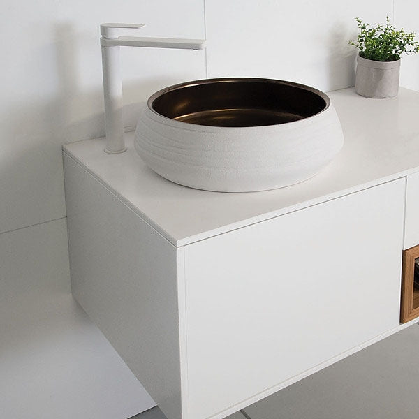 ADP Zeus Bronze Above Counter Basin White by ADP - The Blue Space