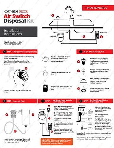 NORTHSTAR DECOR AS010 Single Outlet Garbage Disposal Air Switch Kit. Available in 20+ Finishes Matching any Faucet. Compatible with any Garbage Disposal Unit.