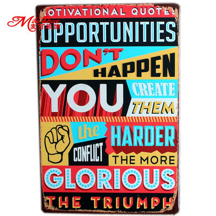 Motivational Quote Metal Wall Plaque 20X30