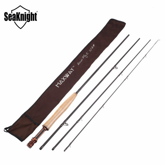 SeaKnight MAXWAY HONOR 3/4# 2.4M 4 Sections Fly Fishing Rod 86g/3.0oz Smooth circular  guide ring Super Light Carbon Fishing Rod