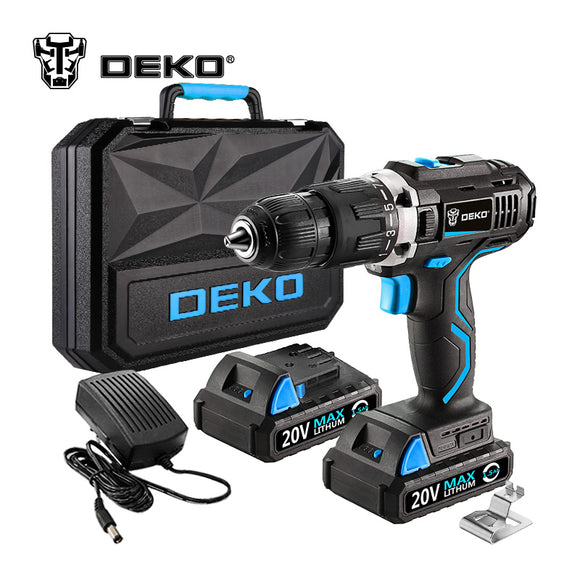 DEKO GCD20DU 20V Max Household DIY Woodworking Lithium-Ion Battery Cordless Drill