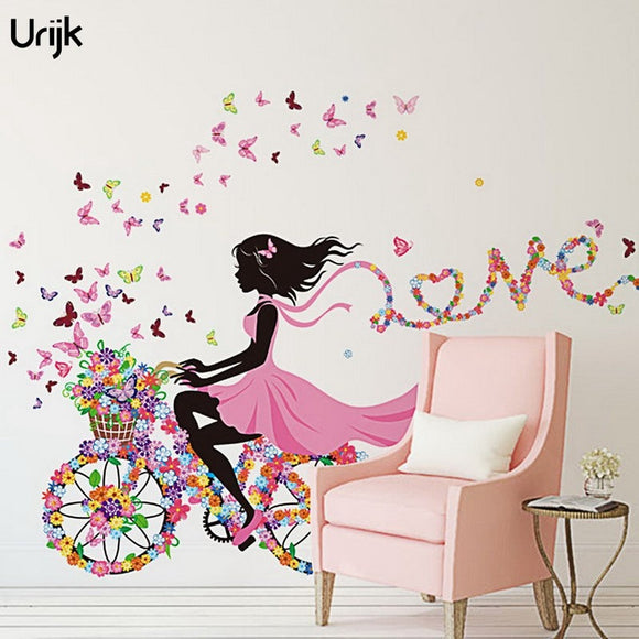 Urijk Flower Butterfly Wall Sticker for Kids  LOVE Heart Bicycle Room Decoration Wall Sticker