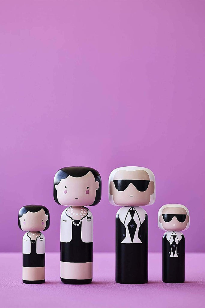 Lucie Kaas Coco Chanel, Karl Lagerfeld kokeshi baba | Coco Chanel kokeshi doll | Solinfo Shop