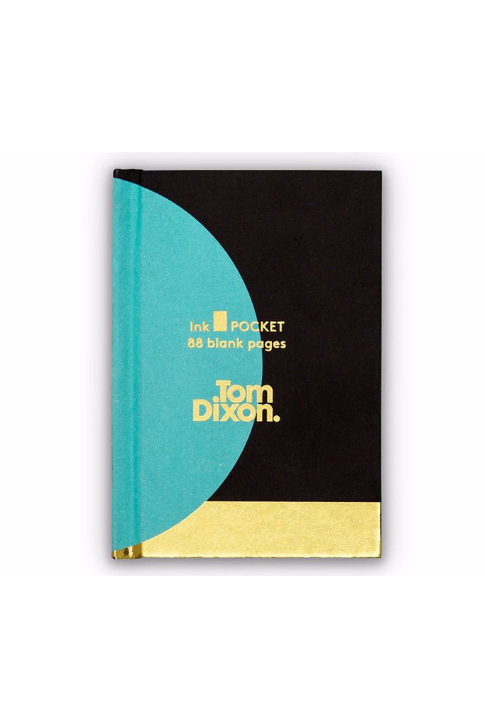 Tom Dixon, Ink pocket book, black, teal, gold, notesz, fekete, zöldeskék, arany